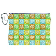 Colorful Happy Easter Theme Pattern Canvas Cosmetic Bag (XL)