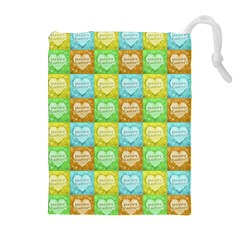 Colorful Happy Easter Theme Pattern Drawstring Pouches (Extra Large)