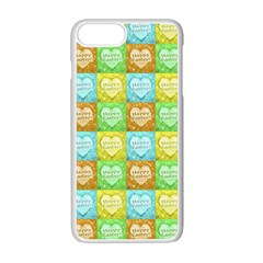 Colorful Happy Easter Theme Pattern Apple iPhone 7 Plus White Seamless Case