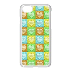 Colorful Happy Easter Theme Pattern Apple iPhone 7 Seamless Case (White)