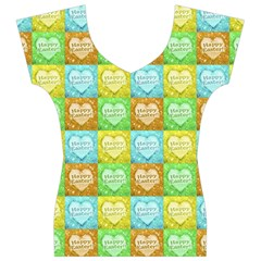 Colorful Happy Easter Theme Pattern Women s V-Neck Cap Sleeve Top
