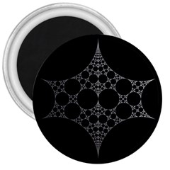 Drawing Of A White Spindle On Black 3  Magnets