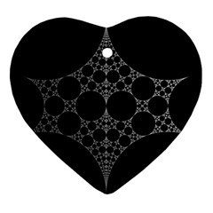 Drawing Of A White Spindle On Black Ornament (Heart)