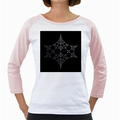 Drawing Of A White Spindle On Black Girly Raglans