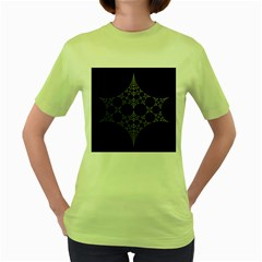 Drawing Of A White Spindle On Black Women s Green T-Shirt