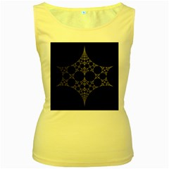 Drawing Of A White Spindle On Black Women s Yellow Tank Top