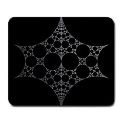 Drawing Of A White Spindle On Black Large Mousepads