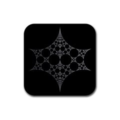 Drawing Of A White Spindle On Black Rubber Coaster (square)