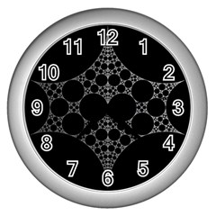 Drawing Of A White Spindle On Black Wall Clocks (silver)