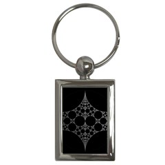 Drawing Of A White Spindle On Black Key Chains (Rectangle)