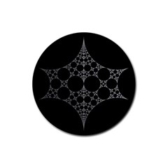 Drawing Of A White Spindle On Black Rubber Coaster (Round)