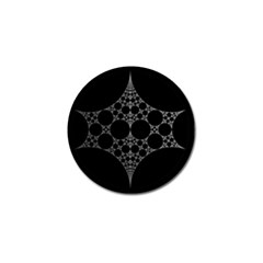 Drawing Of A White Spindle On Black Golf Ball Marker (4 pack)