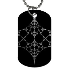 Drawing Of A White Spindle On Black Dog Tag (two Sides)