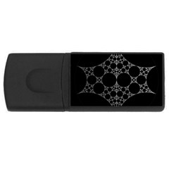 Drawing Of A White Spindle On Black USB Flash Drive Rectangular (1 GB)