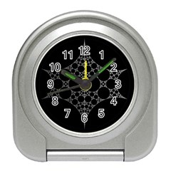 Drawing Of A White Spindle On Black Travel Alarm Clocks