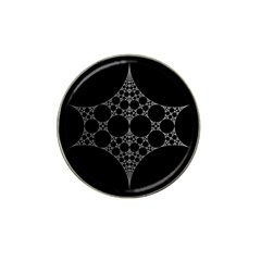 Drawing Of A White Spindle On Black Hat Clip Ball Marker