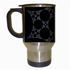 Drawing Of A White Spindle On Black Travel Mugs (White)
