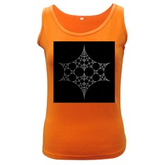 Drawing Of A White Spindle On Black Women s Dark Tank Top