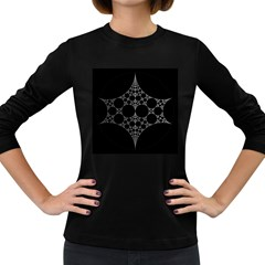 Drawing Of A White Spindle On Black Women s Long Sleeve Dark T Shirts