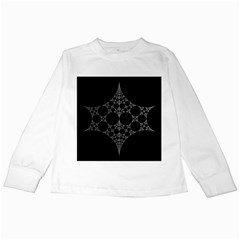 Drawing Of A White Spindle On Black Kids Long Sleeve T Shirts