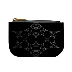 Drawing Of A White Spindle On Black Mini Coin Purses