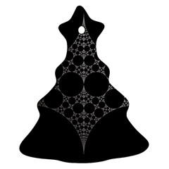 Drawing Of A White Spindle On Black Christmas Tree Ornament (Two Sides)