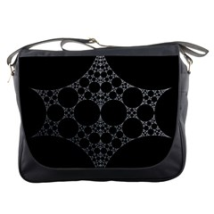 Drawing Of A White Spindle On Black Messenger Bags