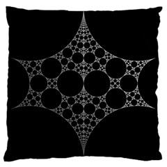 Drawing Of A White Spindle On Black Large Cushion Case (One Side)