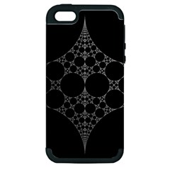 Drawing Of A White Spindle On Black Apple iPhone 5 Hardshell Case (PC+Silicone)