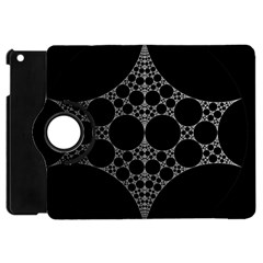 Drawing Of A White Spindle On Black Apple iPad Mini Flip 360 Case