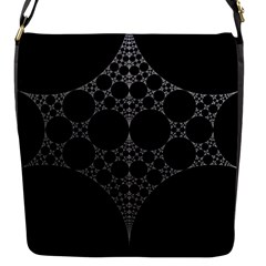 Drawing Of A White Spindle On Black Flap Messenger Bag (S)