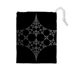 Drawing Of A White Spindle On Black Drawstring Pouches (Large)