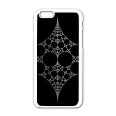 Drawing Of A White Spindle On Black Apple iPhone 6/6S White Enamel Case