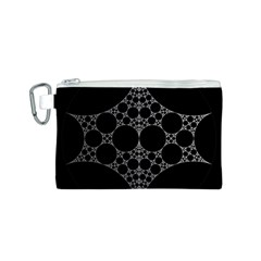 Drawing Of A White Spindle On Black Canvas Cosmetic Bag (S)