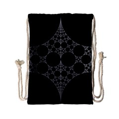 Drawing Of A White Spindle On Black Drawstring Bag (Small)