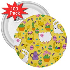 Cute Easter pattern 3  Buttons (100 pack)