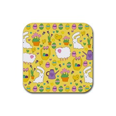 Cute Easter pattern Rubber Square Coaster (4 pack)