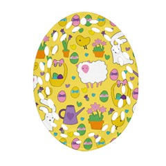 Cute Easter pattern Oval Filigree Ornament (Two Sides)