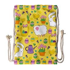 Cute Easter pattern Drawstring Bag (Large)