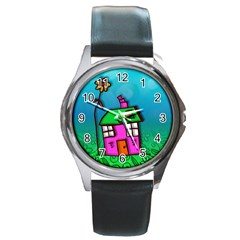 Cartoon Grunge Cat Wallpaper Background Round Metal Watch