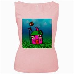 Cartoon Grunge Cat Wallpaper Background Women s Pink Tank Top