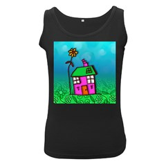 Cartoon Grunge Cat Wallpaper Background Women s Black Tank Top