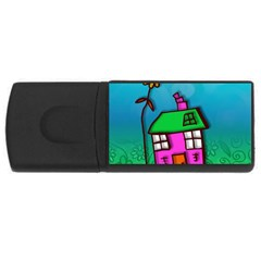 Cartoon Grunge Cat Wallpaper Background USB Flash Drive Rectangular (4 GB)