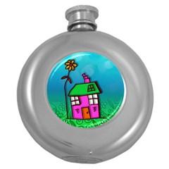 Cartoon Grunge Cat Wallpaper Background Round Hip Flask (5 Oz)
