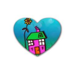 Cartoon Grunge Cat Wallpaper Background Rubber Coaster (Heart)