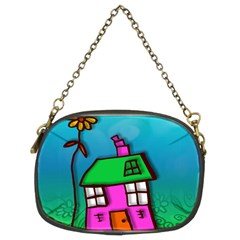 Cartoon Grunge Cat Wallpaper Background Chain Purses (two Sides)