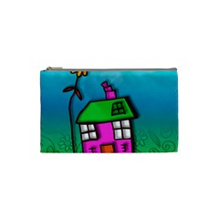 Cartoon Grunge Cat Wallpaper Background Cosmetic Bag (small)