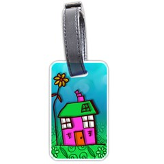 Cartoon Grunge Cat Wallpaper Background Luggage Tags (One Side)