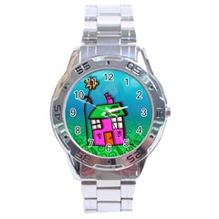 Cartoon Grunge Cat Wallpaper Background Stainless Steel Analogue Watch