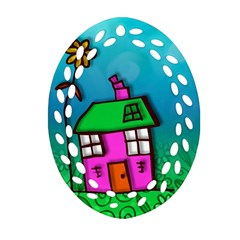 Cartoon Grunge Cat Wallpaper Background Oval Filigree Ornament (Two Sides)